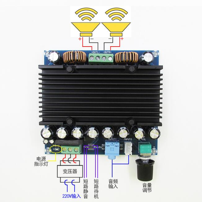 XH-M251 super power digital power amplifier board TDA8954 core dual 210W+210W power supply 12-28VXH-M251 super power digital power amplifier board TDA8954 core dual 210W+210W power supply 12-28V