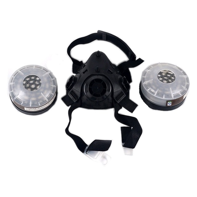 Half Face Gas Mask With Anti-fog Glasses N95 Chemical Dust Mask Filter Breathing Respirators for Painting Spray Welding 3
