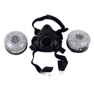 Image 4 - نصف وجه قناع واقي من الغاز مع مكافحة الضباب نظارات N95 الكيميائية الغبار قناع تصفية التنفس التنفس للرسم رذاذ لحام