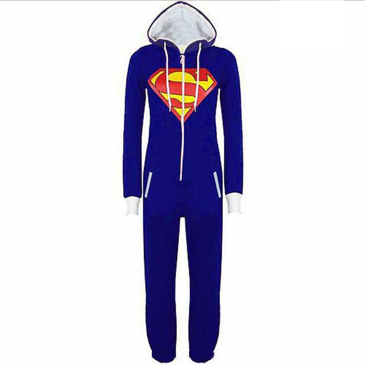 Halloween Party Cosplay Costumes Unisex Pyjamas Adult Pajamas Onesie Men Women Superman One Piece Sleepsuit Sleepwear