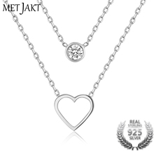 MetJakt Trendy 925 Sterling Silver Double Chain Heart Charm with Single Zircon Pendants Necklace for Women's Best Gift Jewelry
