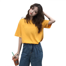 plus size cotton aesthetic simple short sleeve women t shirt 2019 summer korean style top female fashionable womens clothes