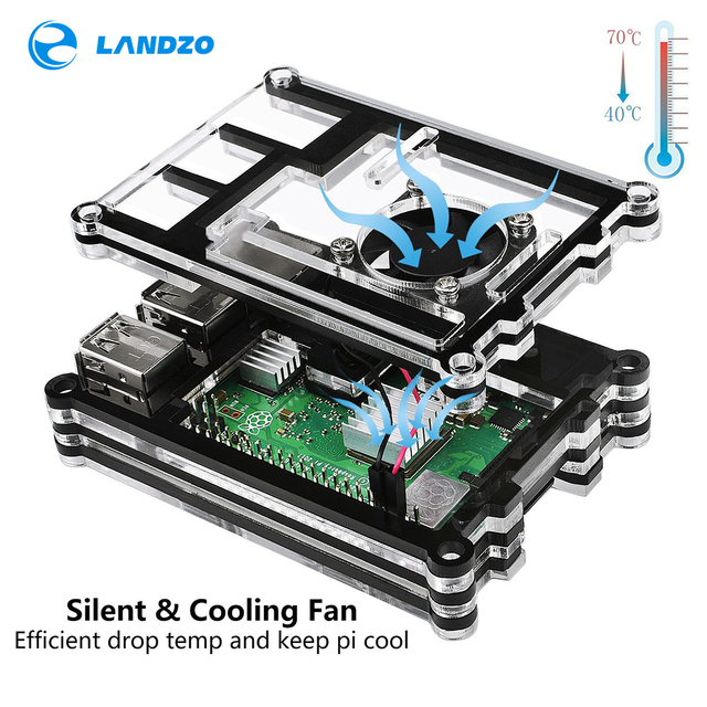 New Official Raspberry Pi 3B+ ( plus ) Case / 9 Layers Acrylic Case with Cooling fan for Raspberry Pi 3 Model B+