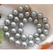 Fashion Women Pearl Jewellery,AA 11-12mm Huge Gray Color Round Freshwater Cultured Pearl Necklace,Wholesale ,New Free Shipping new arriver real pearl jewellery 48inches 4 16mm gray rice freshwater pearls smoke crystal beads necklace free shipping