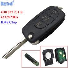 OkeyTech 433MHz 3 Buttons Remote key Keyless Entry Fob ID48 Transponder Chip for Audi A6 TT Old Models 4D0 837 231 K 4D0837231K