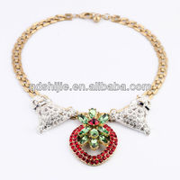 New Arrival 2013 Fashion Jewelry Elegant Red Rhinestone Pendant Statement Fashion Necklace