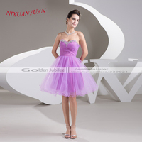 2016 New Custom Made Tulle Party Gown Sweetheart Short Cocktail Dress 2016 Mini Ball Gown Vestidos