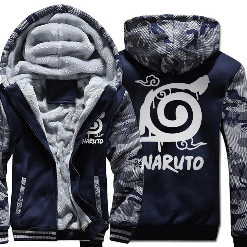 men fleece Thicken Zipper Jacket 2019 Winter Warm Naruto printed Hoodies Hooded Coat man's long sleeve fitness Sweatshirts homme