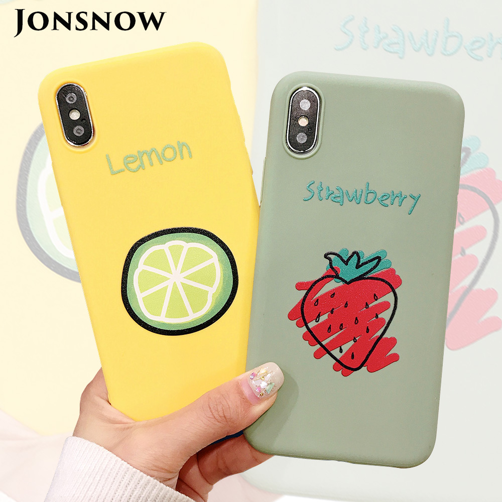 KIPX1090_1_JONSNOW Phone Case for iPhone XR XS Max 6S 7 8 Plus Embossed Fruit Style Lemon Watermelon Strawberry Patterns Soft Silicone Cover