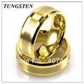 Оптовые Самая Низкая Цена 10 шт./лот Бесплатная Доставка 8 ММ Tungsten Gold Brushed Центр Полосы Кольца мужские Кольца