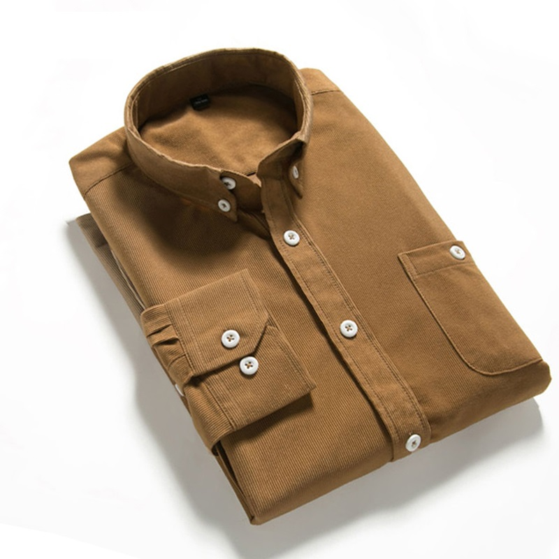 Shirts Men Long Sleeves Corduroy Dress Shirt  Casual Men's Shirt  2108 Brand Fashion Solid Color Male Slim Fit Shirt 5XL