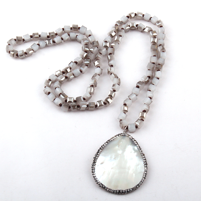 MOODPC Fashion Rustic Soldered Artisan Jewelry Square Crystal Glass Beads knotted with Shell,Crystal Tassel Charm NecklaceMOODPC Fashion Rustic Soldered Artisan Jewelry Square Crystal Glass Beads knotted with Shell,Crystal Tassel Charm Necklace
