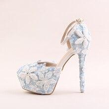 fff1b2887864e7 14cm Blue Lace Flowers Round Toe Size 5 Womens Bridal Shoes Platform High  Heels Pearl Wedding