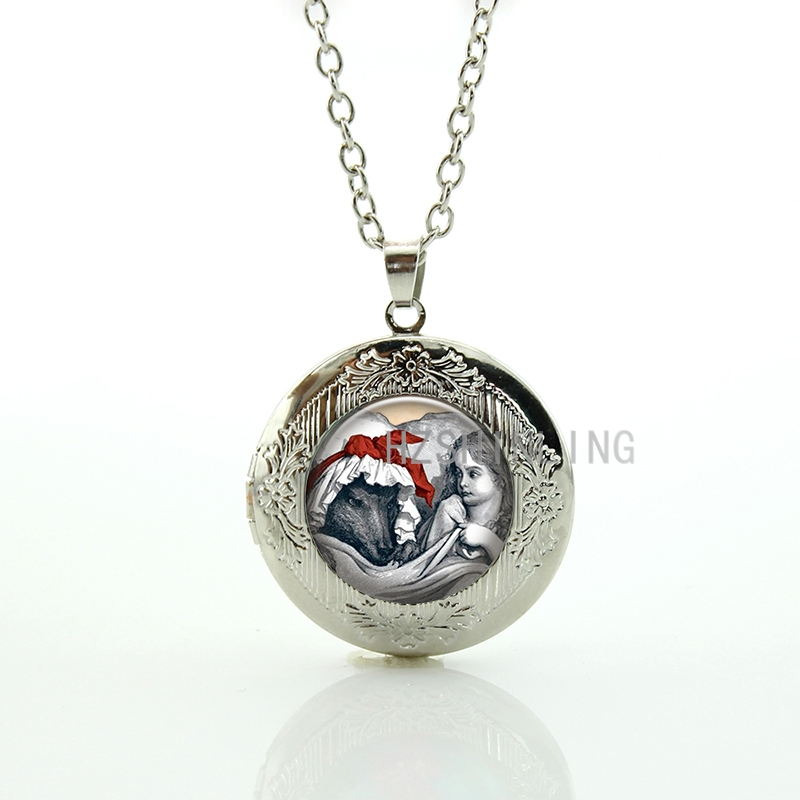 Vintage Wolf and irl on the bed pendant locket Christmas Day statement necklace women jewelry cool animal New Year gifts CM109