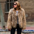 ZDFURS *Winter 100% Real Raccoon Fur Knitted Women's Natural Raccoon Fur Jacket raccoon fur coat outerwear ZDKR-165015