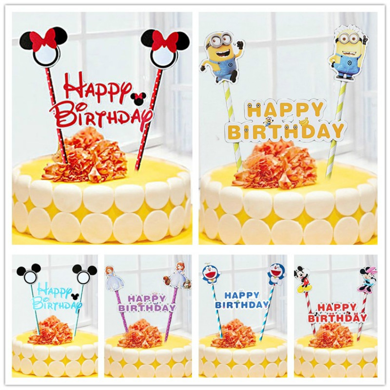 Strange 1Set Happy Birthday Cake Flags Mickey Minnie Mouse Cake Cupcake Birthday Cards Printable Trancafe Filternl