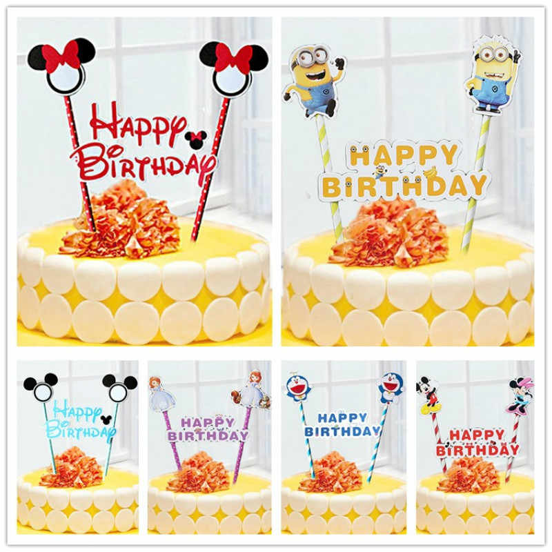 Excellent 1Set Happy Birthday Cake Flags Mickey Minnie Mouse Cake Cupcake Birthday Cards Printable Trancafe Filternl