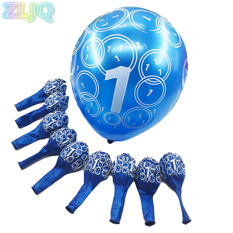 ZLJQ 10pcs Creative Baby Shower 1 Year Old Balloon New Fashion Print Balloons For Child Birthday Party Decoration Supplies 6D