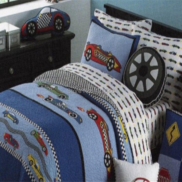 Free shipping racing car kids 2pcs comforter bedding set textiles handmade applique patchwork teens race car quilt bedspread set