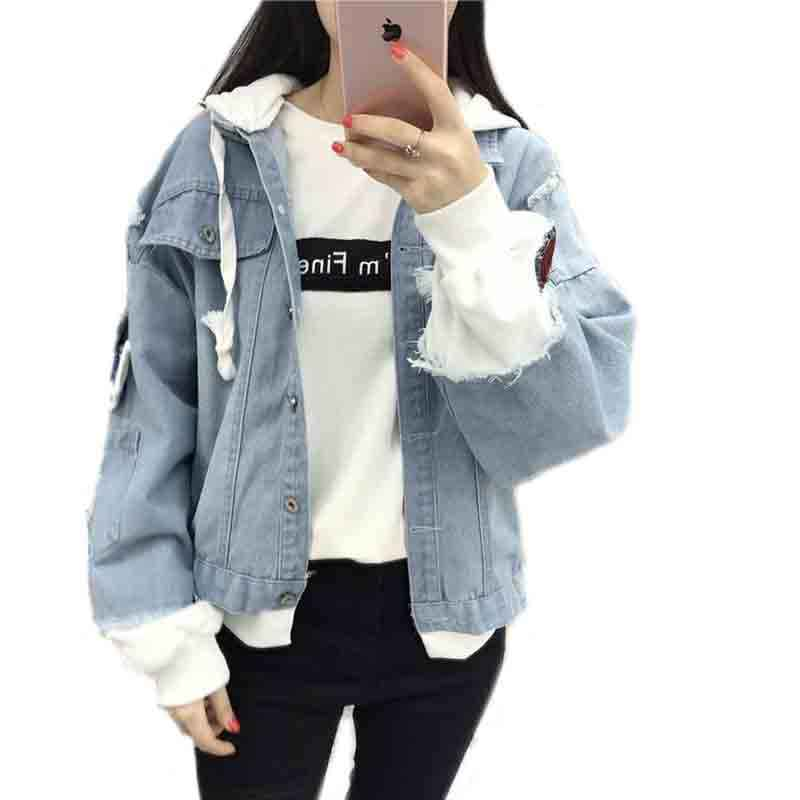 New Autumn Casual Hooded Denim Jacket Women Fake Two Pieces Boyfriend Trends Jean Pockets Loose Jackets Jeans Coat Female