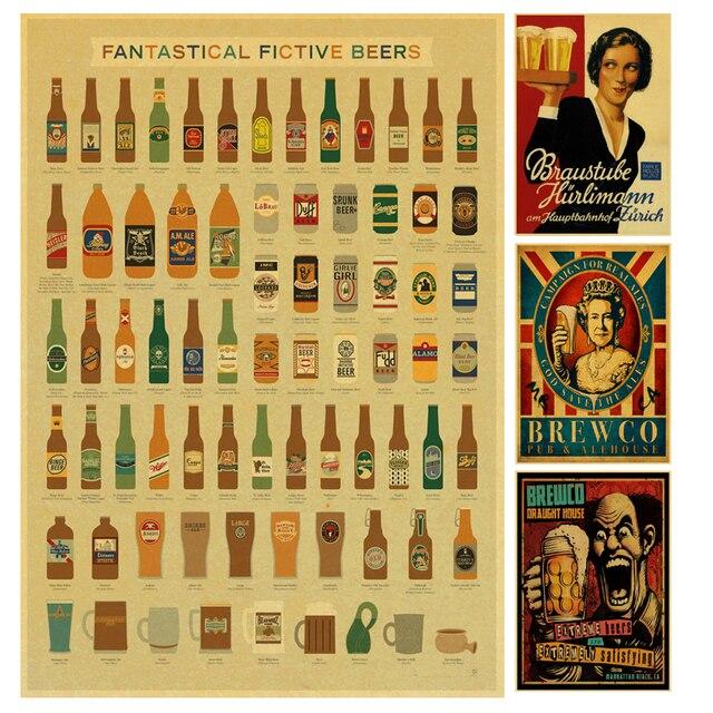 Divertente Birra Vino collezione bar cucina disegni poster Kraft ...