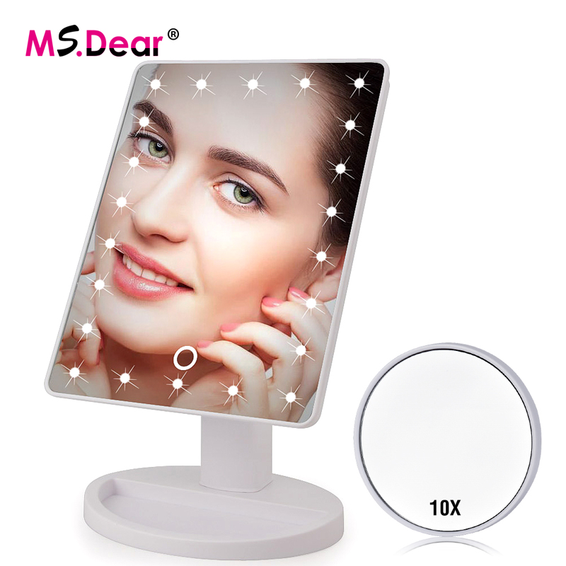 Spiegel 16/22 Leds Licht Touchscreen Make-up Spiegel 10x Vergrößerungs Drehbare Eitelkeit Platz Schreibtisch Stehen Kosmetik Spiegel Make-up-tools