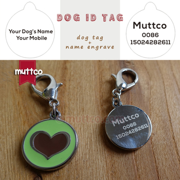 50pcs/lot 20mm cute heart shape print 2colour dog tag dog id tags for pets metal  laser engraving round dog name tags