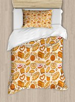 Food Duvet Cover Set Goods from Bakery Bread Doughnut Croissant Bagel and Cinnamon Bun Sketch Design 4 Piece Bedding Set