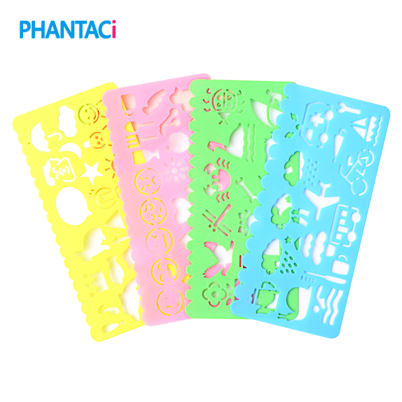 4 Pcs/lot Cute Art Graphics Symbols Drawing Template Ruler Student Kids Stencil Rule Stationery