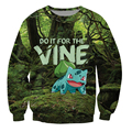 Bulbasaur Sweatshirt Pokemon grass type Do it for the Vine internet meme Character Jumper Casual Sweats Women/Men Tops Pullover