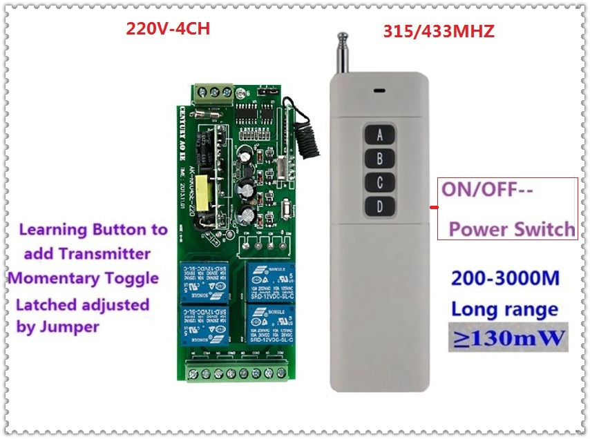 3000m Long Range Remote Control Switch DC 220V 4CH 10A Relay Receiver Transmitter Learning Light Lamp Wireless Switch 315/433MHZ 315 433mhz 12v 2ch remote control light on off switch 3transmitter 1receiver momentary toggle latched with relay indicator