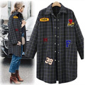 2016 Autumn New Cardigan Long Section Plaid Long-sleeved Jacket Wild Loose was Thin Cartoon Patch Coat AXD1829
