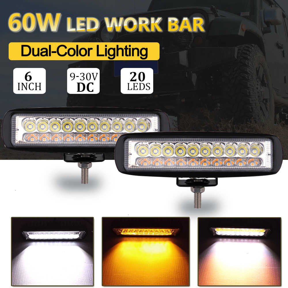 6 inch 60W Double Color Amber White Led Work Light Bar Yellow Driving Work Headlight Floodlight Spot Fog Golden Lamp Car Styling