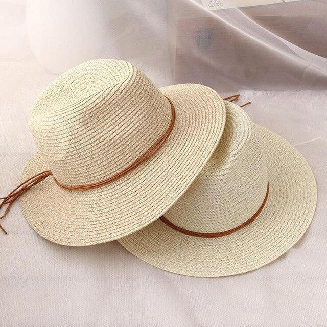 Women Summer straw Sun hat Boho Beach wide Brim Fedora hat Sunhat Trilby  panama Hat Gangster 511566fc912