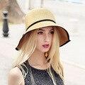 2016 Nueva Señora Sombrero de Sun Del Verano Sombrero de Paja de Las Mujeres Plegado de Ala Ancha Dom Casquillo Elegante Viajar Sombrero Nuevo Headwear B-1984