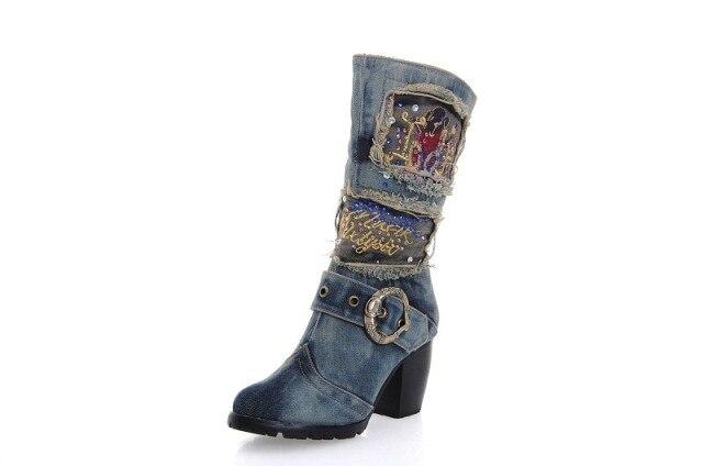 popular blue denim boots buy cheap blue denim boots lots