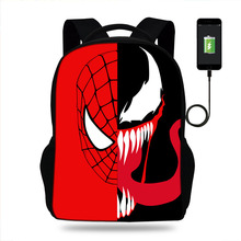 Spider Man Venom Painting school bags large backpack for teenagers high boys girls student casual USB bag