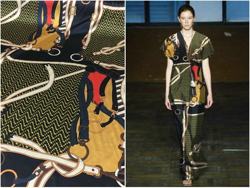 New silk fabric saddle belt chain geometric printing brand 140cm wide stretch heavy silk satin dress