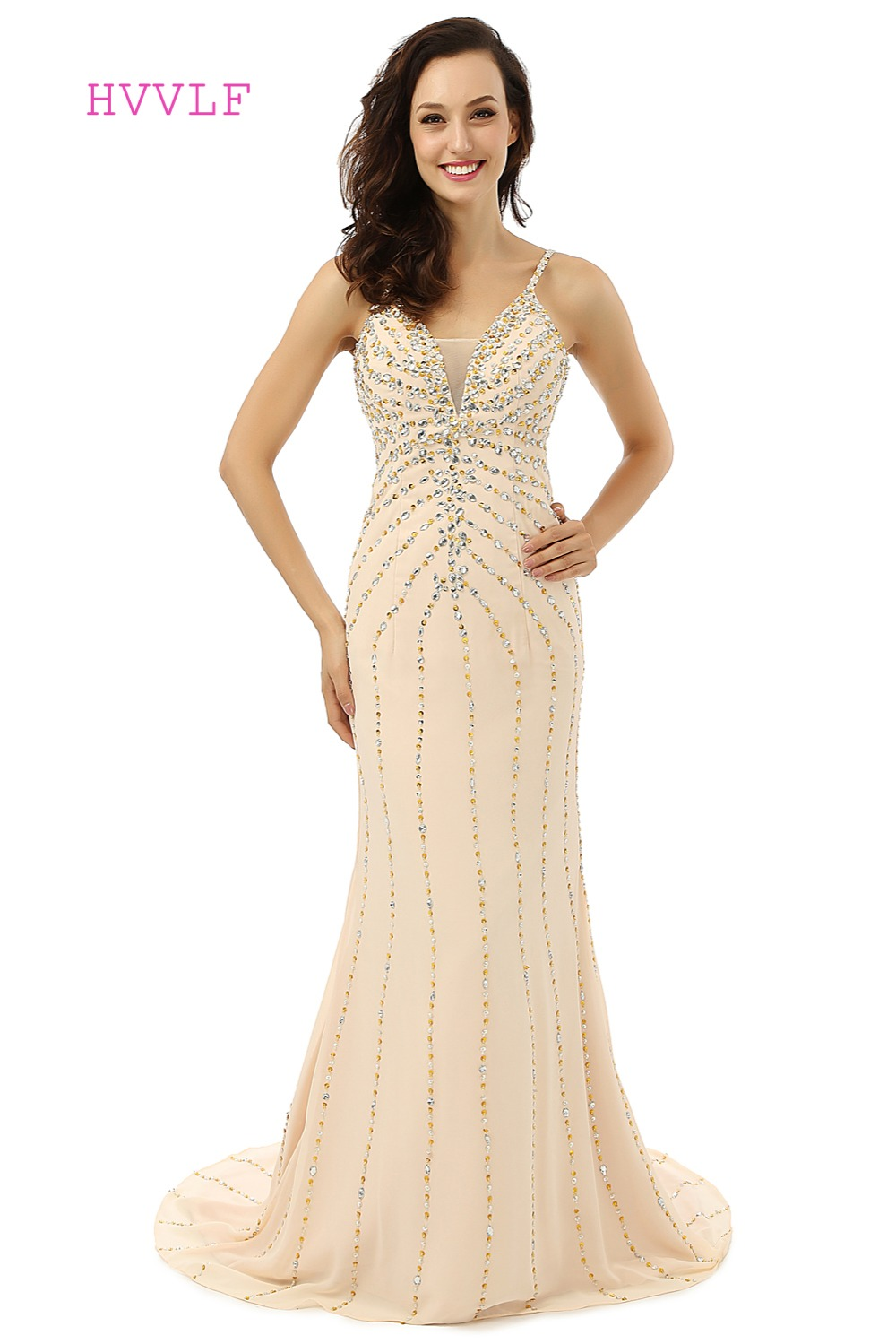 Champagne Robe De Soiree 2019 Mermaid Spaghetti Straps V-neck Beaded Crystals Sexy Long   Prom     Dresses     Prom   Gown Evening   Dresses