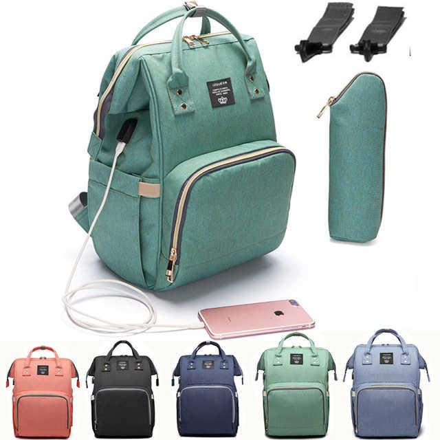 Bolso de moda USB para bebé, bolsa de pañales para cochecito, bolsas impermeables para bebé, mochila para mamá y papá, pañales lequeen con usb