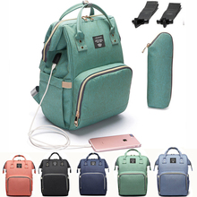 USB Fashion Baby Bag Stroller Diaper Bag Waterproof Baby Bags For Mom Backpack For Mom and Daddy diapers lequeen with usb cheap CN(Origin) Nylon zipper (30cm Max Length 50cm) 16inch Diaper Bags 25cm 700g 40cm Solid