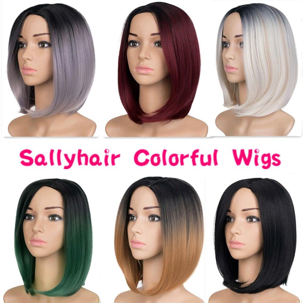 Sallyhair Hög temperatur Syntetisk Rak Kort Ombre Svart Smaragdgrön - Syntetiskt hår - Foto 4
