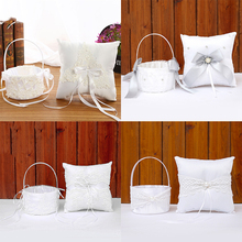 2pcs Set Pearl Bow Wedding Flower Basket Lace 20x20 Ring Pillow 18x13 Girl Creative Decoration