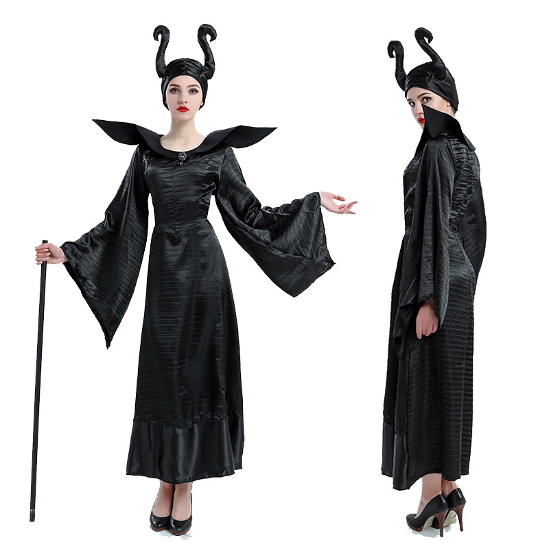 2017 New Sleeping Beauty Witch Queen Maleficent Cosplay Costumes Women Halloween,Carnival Party Cosplay Fancy Stage Dresses Sets