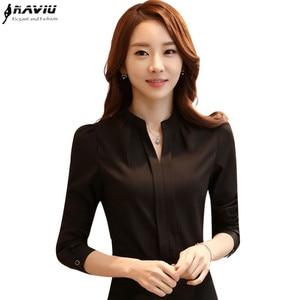 Image 1 - Spring Summer Fashion Women V Neck Shirt OL Elegant White Black Long Sleeve Chiffon Blouse Office Ladies Plus Size Tops