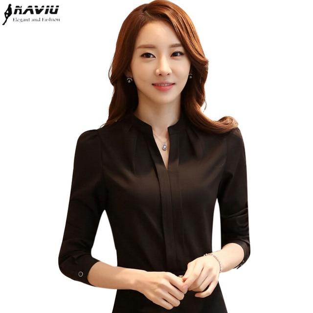 Spring Summer Fashion Women V Neck Shirt OL Elegant White Black Long Sleeve Chiffon Blouse Office Ladies Plus Size Tops