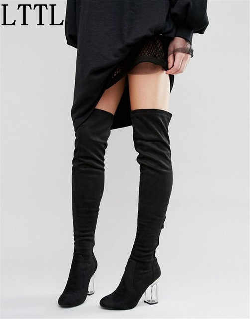 6a0bece37c Plus Size for Women 9cm Crystal Heels Fashion Women Over the Knee Boots  Perspex Clear Heel Thick Heels Thigh High Boots