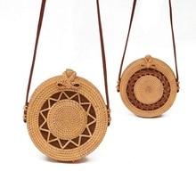 Woven Rattan Bag Round Straw Shoulder Wicker Bag Small Beach HandBags Women Summer Hollow Handmade Messenger Crossbody Bags