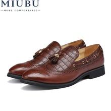 MIUBU British Wind Pointed Tassel Carved Bullock Shoes Mens Flats Slip-on Man Oxfords Driving