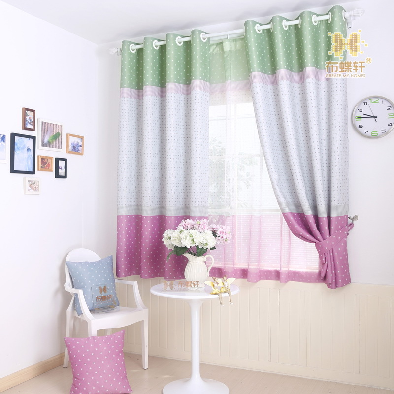 Mediterranean Style Double Side Star Prints Drapes Blue